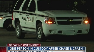 Person in custody after chase and crash in North Tulsa - Video
