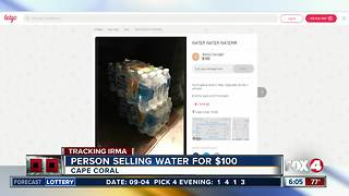 Person selling water for $100 a pack