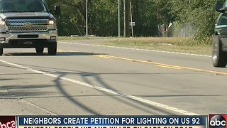 Neighbors create petition for lighting on US 92 - Video