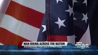 Man rides bike across USA for Gold Star Children - Video