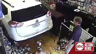 Vehicle plows through Tampa business - Video