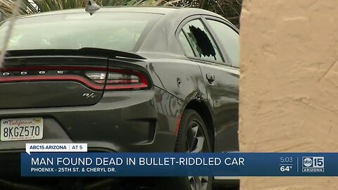 A man found dead in a bullet-riddled car
