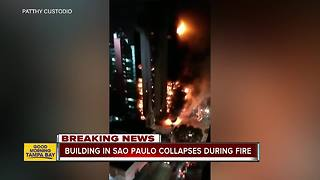 Building in Sao Paulo collapses during fire - Video
