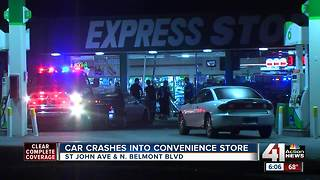Driver crashes into BP convenience store, flees scene