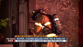 Mother, children rescued from fire in Hamilton