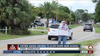 Port Charlotte dad holds sign to get drivers to slow down