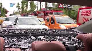Heavy Istanbul Precipitation Smashes Car Windows - Video