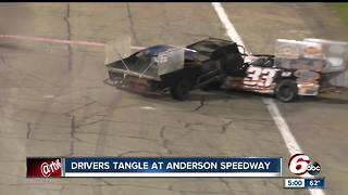 Race car drivers fight after crash at Anderson Speedway - Video