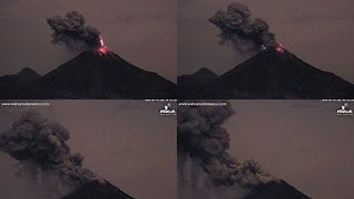 Fiery Blast, Lava Spew Seen During Colima Volcano Night Eruption - Video