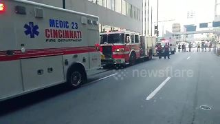 Ambulances line up after 2 dead, 5 injured in Cincinnati shooting