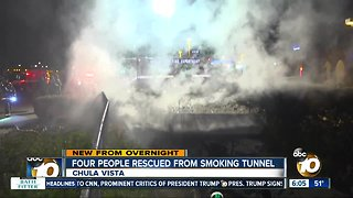 Firefighters rescue 4 people from smoke-filled tunnel