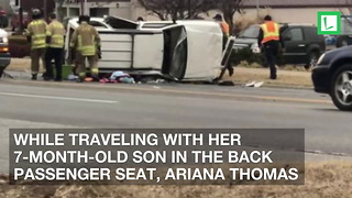 Car Rolls 3 Times, Mom and 7-Month-Old Inside. Strangers Rush to Help Save Them - Video