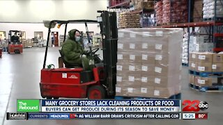 Many grocery stores still lack cleaning products, food