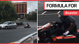 Two teenagers caught speeding through morning traffic on a GO-KART