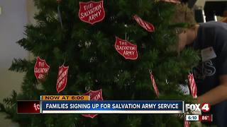 Families signing up for Salvation Army service - Video