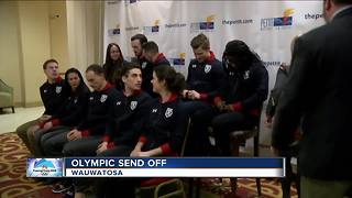 Send off celebration held for local Olympic speed skaters - Video
