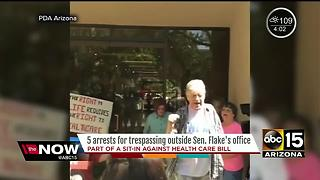 5 arrested in protests at Senator Jeff Flake's office in Phoenix