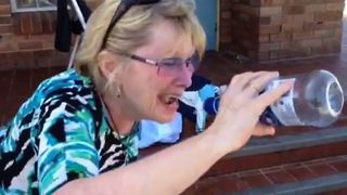 Lady Fails At Drinking Water - Video