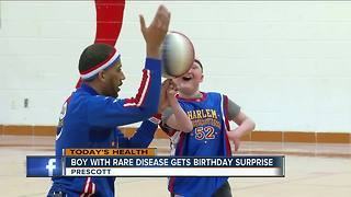 Boy with rare disease gets birthday surprise - Video