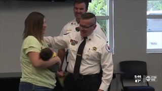 Happy reunion for crew that helped deliver baby