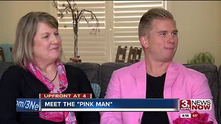 Man wears pink to support mother with breast cacner - Video