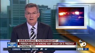 One killed in wrong-way crash on I-5 freeway in National City - Video