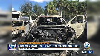 3 cars burn in Martin County - Video