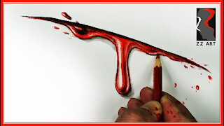 blood soul | watercolor pencil drawing | how to draw blood from a cut