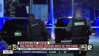 Baltimore Police Officer shot in hand - Video