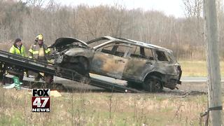 Two vehicles collide, one catches fire following crash - Video