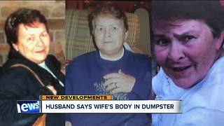Husband says wife's body in dumpster, not river