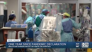 Healthcare workers reflect on one year since pandemic declaration