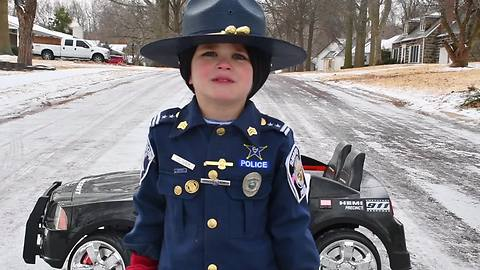 Six-Year-Old 'Police Officer' Shares A Secret To Driving In Bad Weather