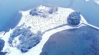 North Wales covered in snow. - Video