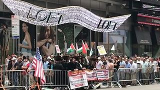 Demonstrators Gather in NYC's Times Square to Protest al-Aqsa Mosque Security Measures - Video
