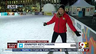 Jennifer Ketchmark goes ice skating on Fountain Square on this cold morning - Video