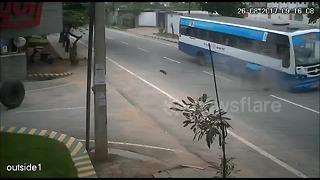 CCTV captures terrifying moment wheel comes off running bus loaded with passengers - Video