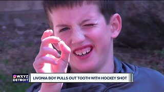 Eight-year-old Livonia hockey player pulls out tooth with shot