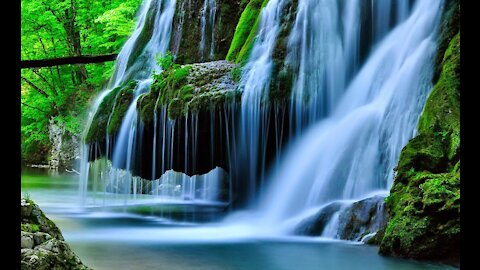 Quiet music with a wonderful waterfall view.