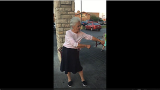 Granny Nails The Floss Dance On First Attempt  - Video