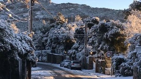 La Mola Mountain, Near Barcelona, Covered in Snow as Region Experiences Cold Snap