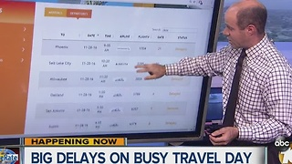 Big delays on busy travel day