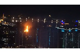 Sparks Rain Down From Burning Dubai Tower - Video