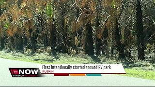Fires intentionally started around RV park - Video