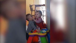 Cute Baby Loves Kissing