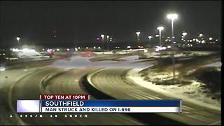 Man struck and killed in 696 near Inkster - Video