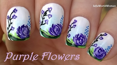 Purple flower nail art: Acrylic paint
