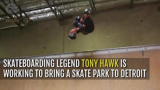 Tony Hawk works to bring skate park in Detroit - Video