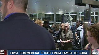 First commercial flight from Tampa to Cuba - Video