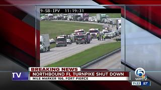 Turnpike northbound shutdown in St. Lucie County - Video